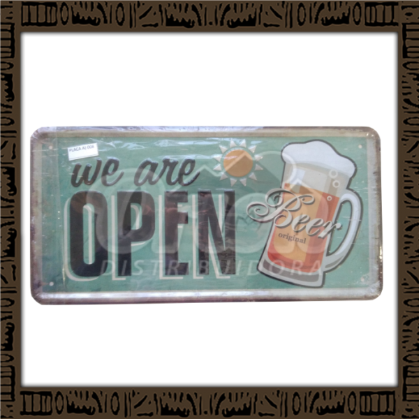 Quadro Decorativo de Parede 15x30 - Placa 008 We Are Open - MXF17056