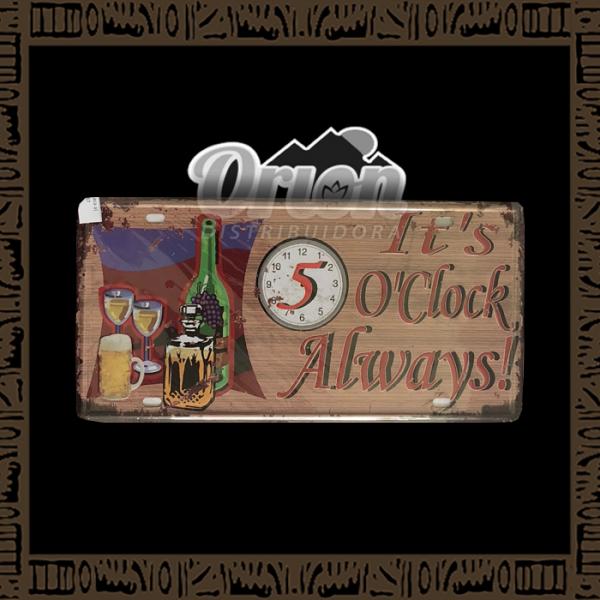 Quadro Decorativo de Parede 15x30 - Placa 087 It's O'clock Always - TPLC-97