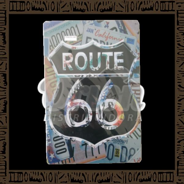 Quadro Decorativo de Parede 20x30 - Placa 005 Route 66 Silver - MXF17025