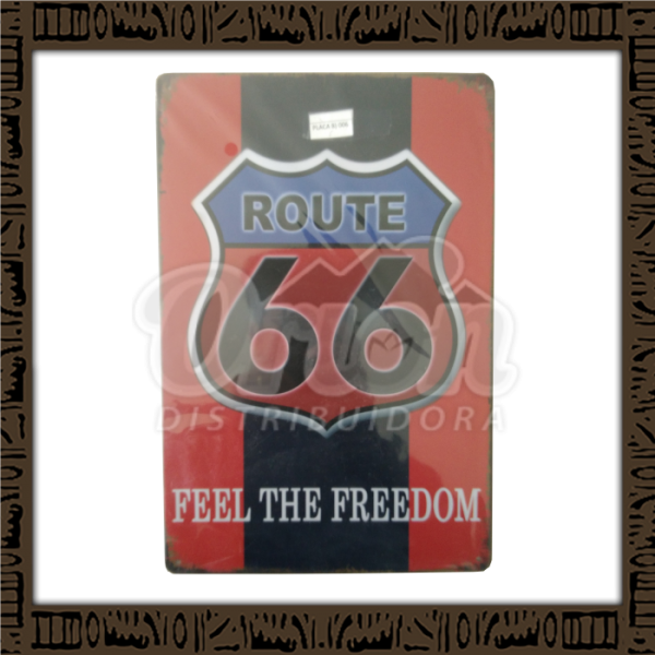 Quadro Decorativo de Parede 20x30 - Placa 006 Route Red - MXF17025