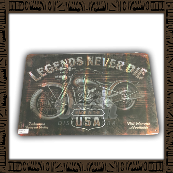 Quadro Decorativo de Parede 20x30 - Placa 028 Legends Never Die - YPLC-204