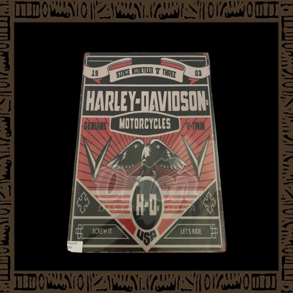 Quadro Decorativo de Parede 20x30 - Placa 033 Harley Davidson H-O Águia - TPLC-38