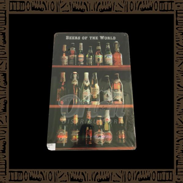 Quadro Decorativo de Parede 20x30 - Placa 039 Beers of the World - YPLC-200
