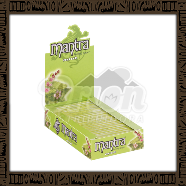 Caixa papel p/ cigarro Mantra Menta 1 1/4 c/ 25 unidades