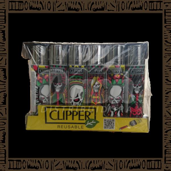 Caixa isqueiro Clipper CP11R Large Coleção Caveira Heavy Metal c/ 24 unidades