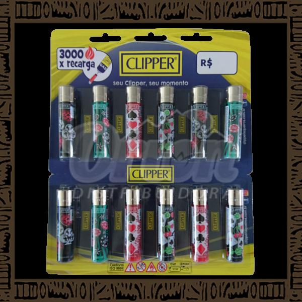 Cartela isqueiro Clipper CP11R Large Coleção Casino c/ 12 unidades