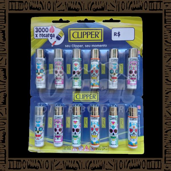 Cartela isqueiro Clipper CP11R Large Coleção Caveira c/ 12 unidades